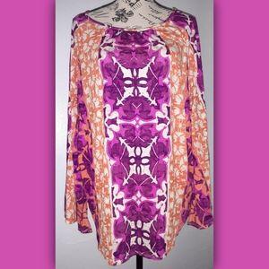 Womens Chico's Orange, Purple & Pink Tunic Blouse